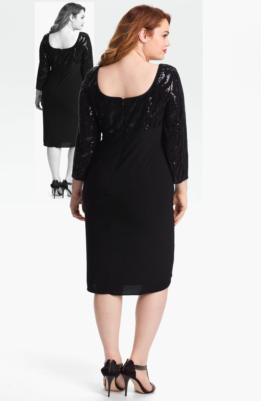 Alternate Image 2  - Alex Evenings Embellished Ruched Jersey Dress (Plus)