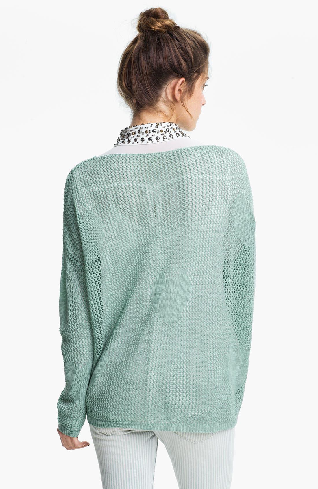 Alternate Image 2  - Double Zero Heart Knit Sheer Sweater (Juniors)