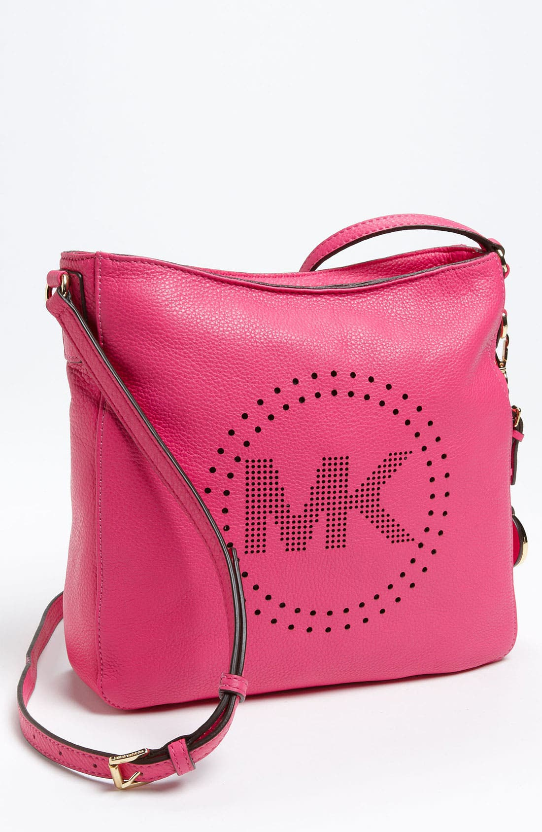 Main Image - MICHAEL Michael Kors 'Perforated MK - Large' Leather Messenger Bag