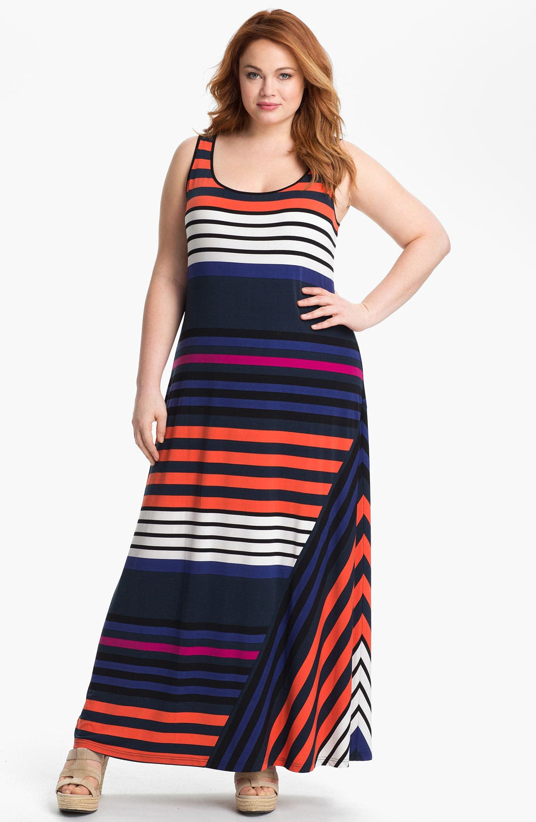 Main Image - Calvin Klein Stripe Tank Maxi Dress (Plus)