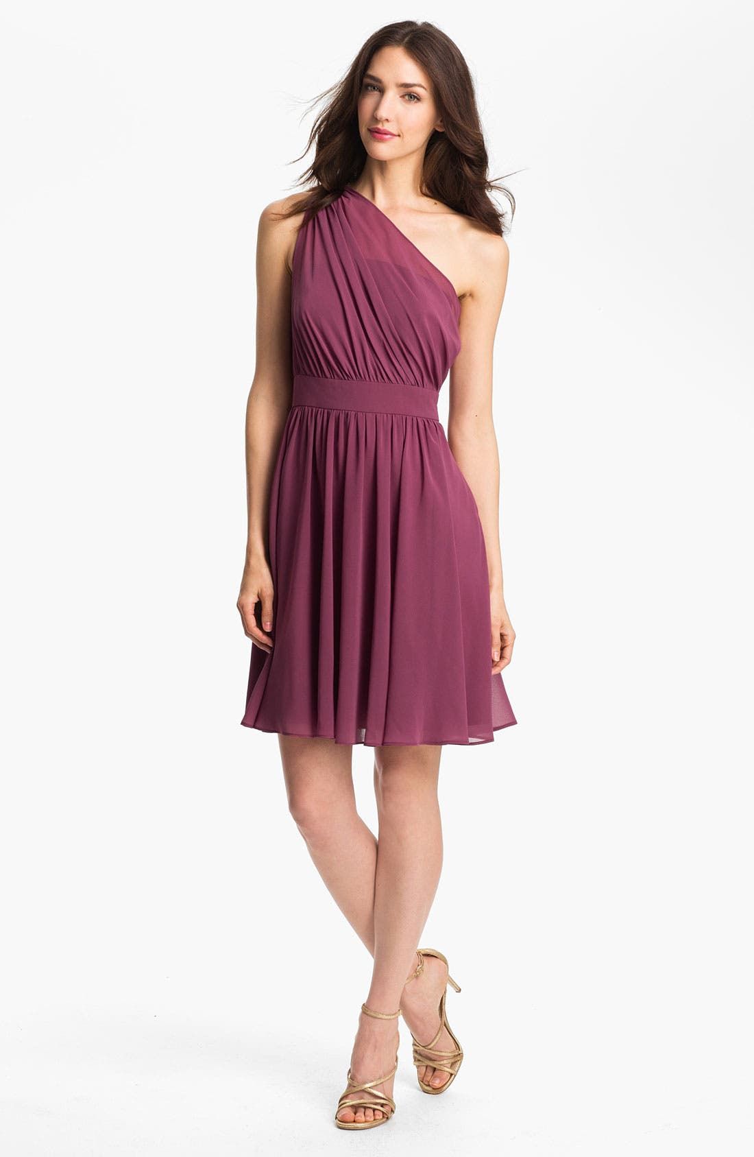 Alternate Image 1 Selected - Suzi Chin for Maggy Boutique One Shoulder Chiffon Dress