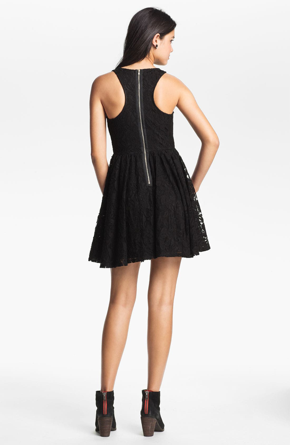 Alternate Image 2  - Fire Lace Skater Dress (Juniors)