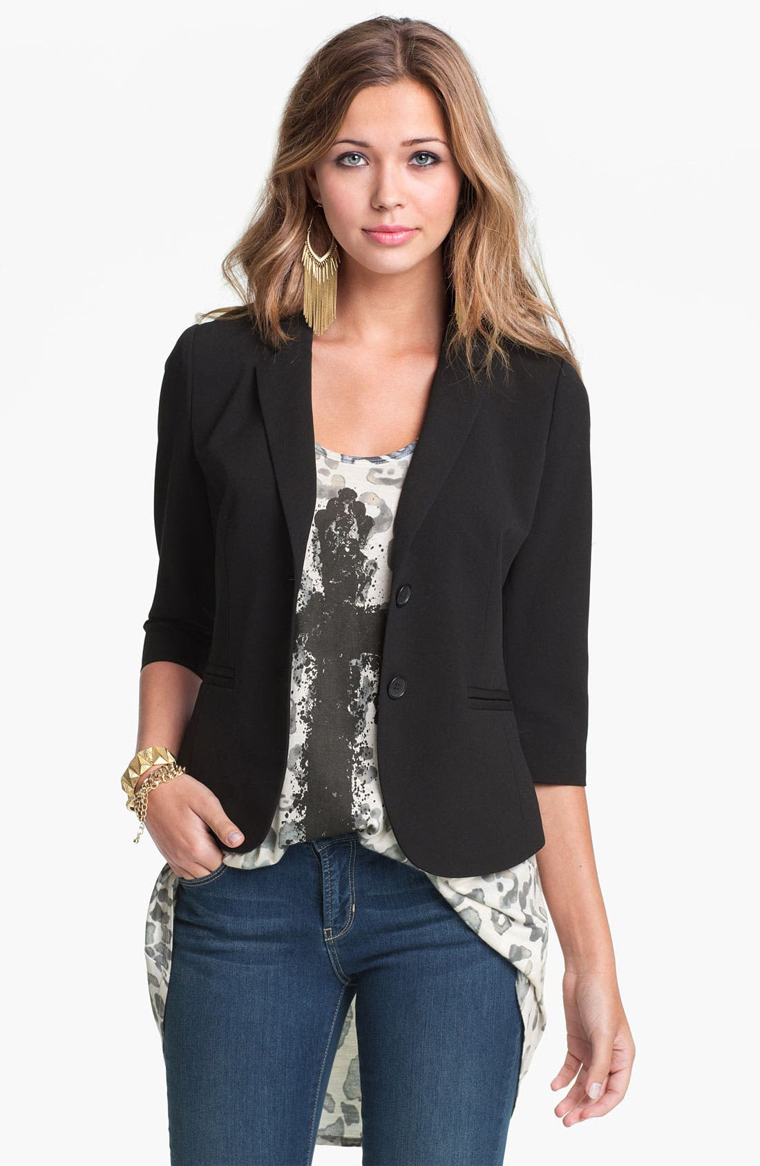 Alternate Image 1 Selected - Frenchi® Curved Hem Blazer (Juniors)