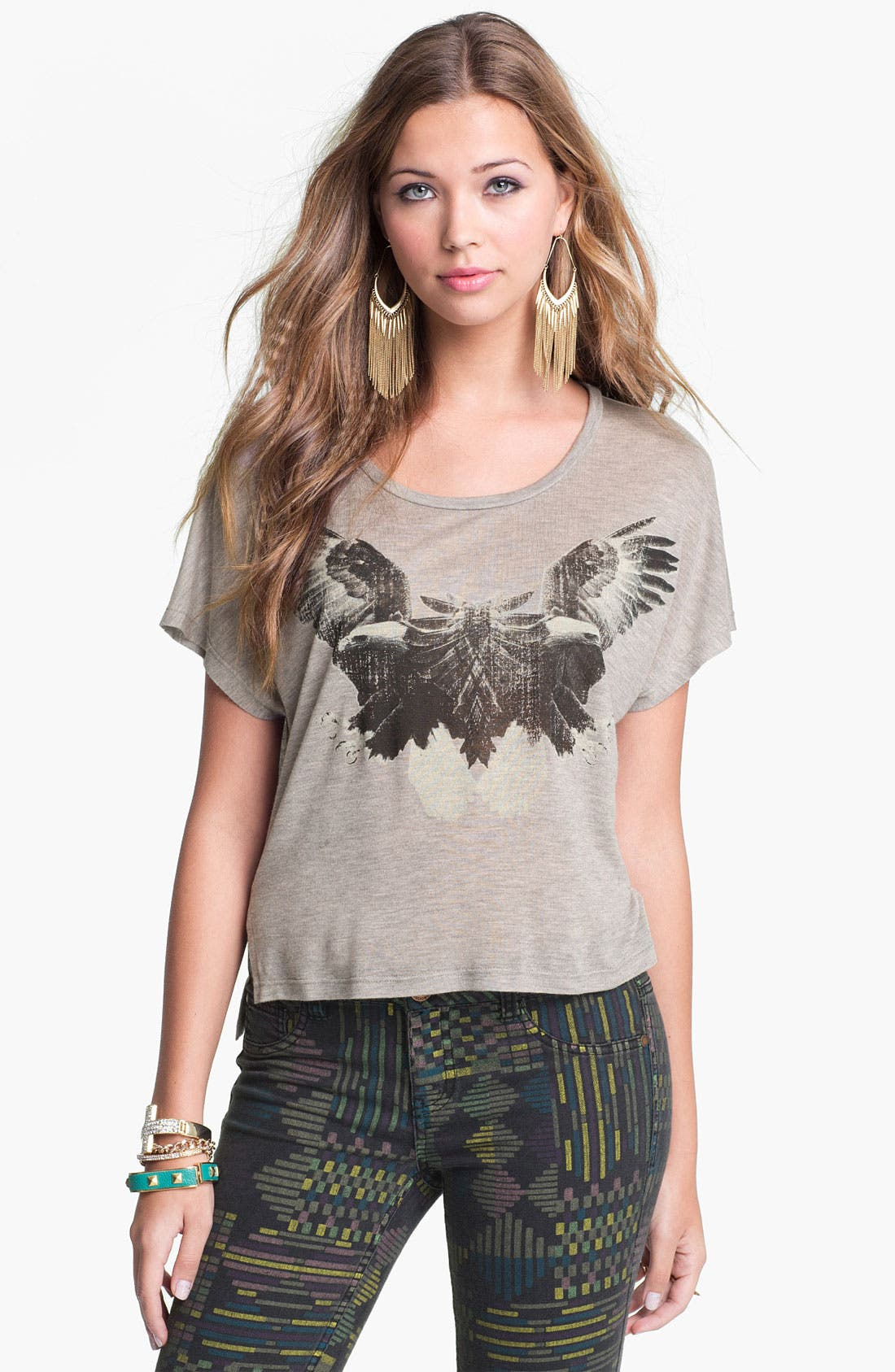 Alternate Image 1 Selected - Soprano Double Eagle Graphic Crop Tee (Juniors)