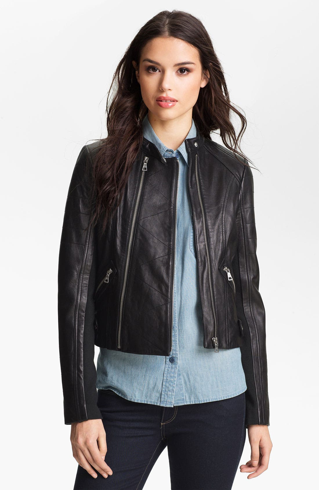 Alternate Image 1 Selected - Sam Edelman Double Zip Leather Moto Jacket (Online Only)
