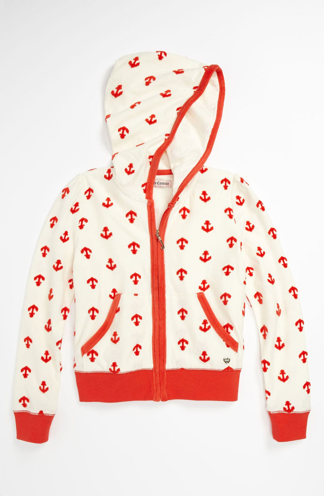 Alternate Image 1 Selected - Juicy Couture Anchor Print Zip Hoodie (Little Girls & Big Girls)