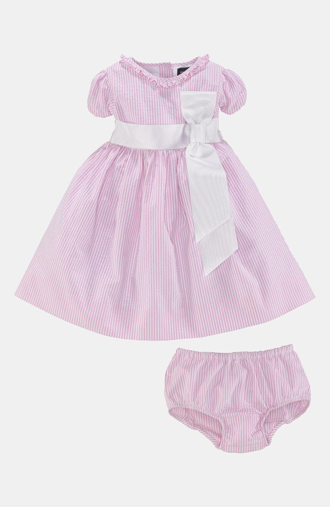 Alternate Image 2  - Ralph Lauren Seersucker Dress & Bloomers (Baby Girls)