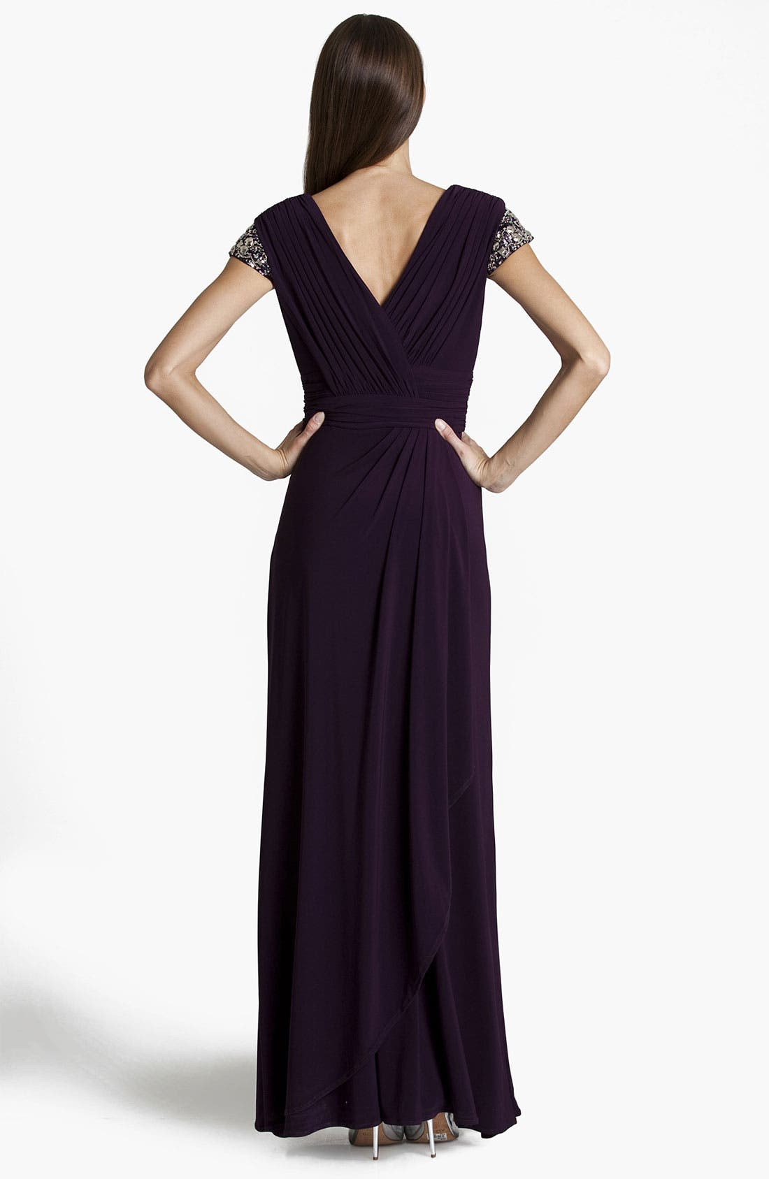Alternate Image 2  - JS Boutique Embellished Pleated Surplice Gown