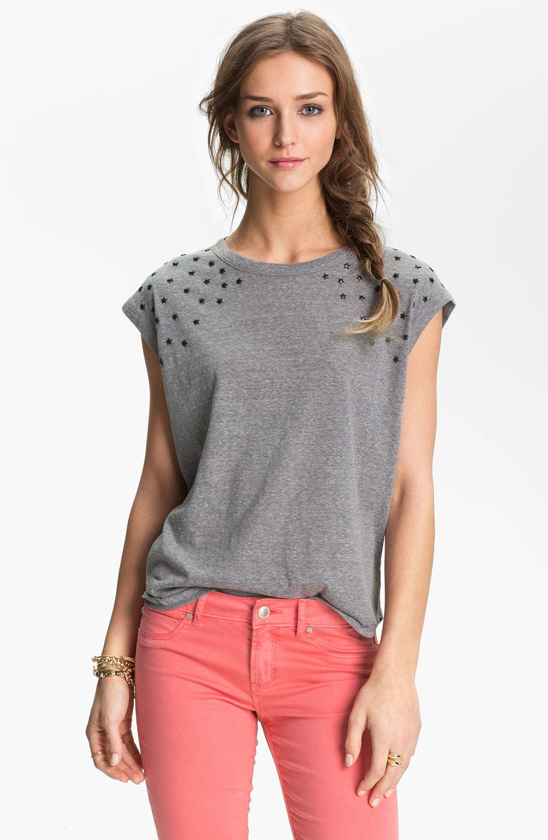 Alternate Image 1 Selected - Elodie® Star Stud Muscle Tee (Juniors)