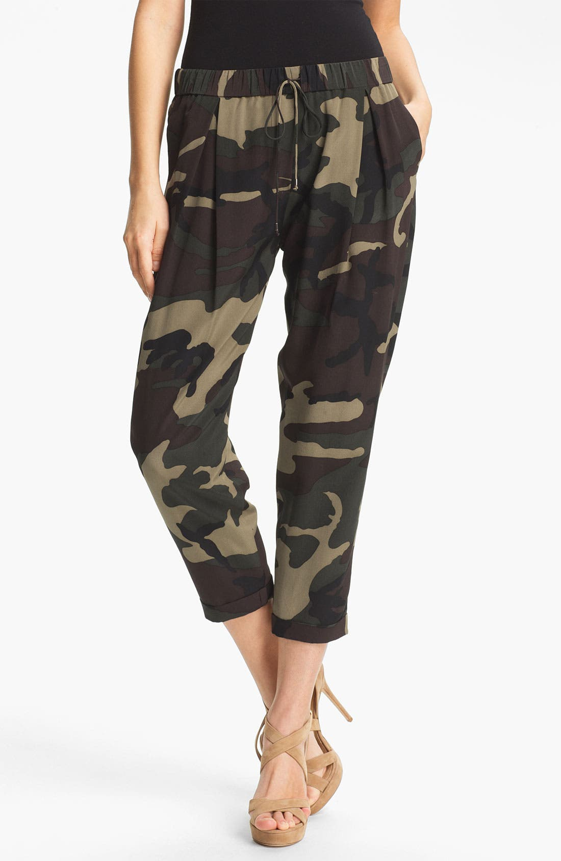 Alternate Image 1 Selected - Haute Hippie Camo Print Drawstring Trousers