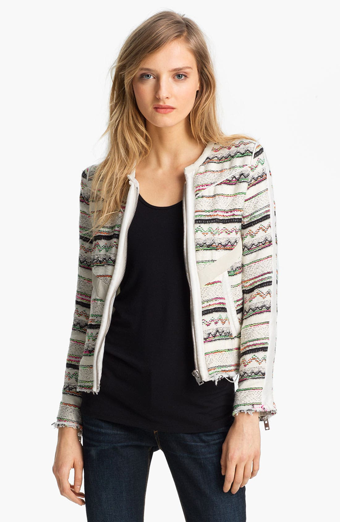 Alternate Image 1 Selected - IRO Collarless Leather Trim Jacket