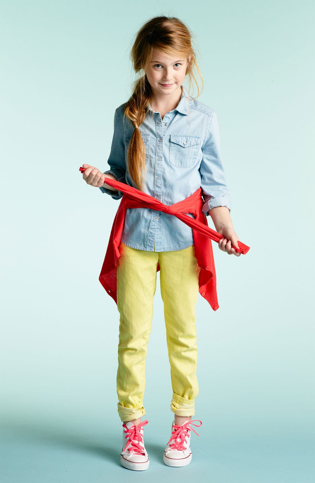 Alternate Image 1 Selected - Tucker + Tate Chambray Shirt, Cardigan & Skinny Jeans (Big Girls)