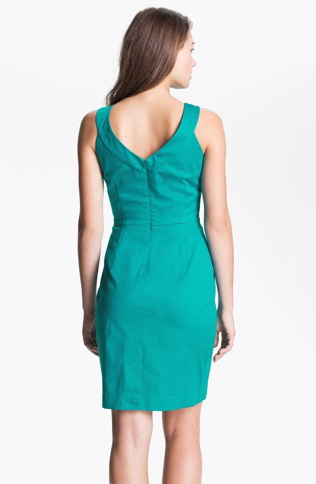Alternate Image 2  - Calvin Klein Cutaway Belted Cotton Dress