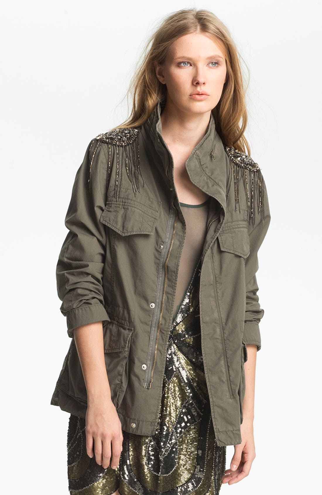 Alternate Image 2  - Haute Hippie Sequin Shoulder Military Jacket