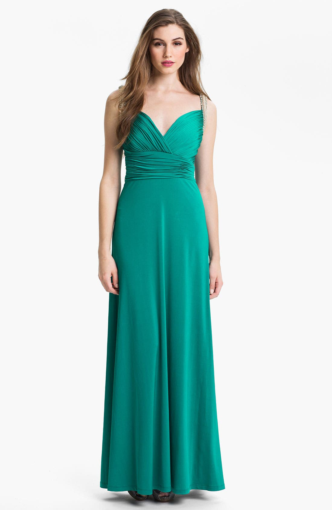 Main Image - Calvin Klein Embellished Charmeuse Gown