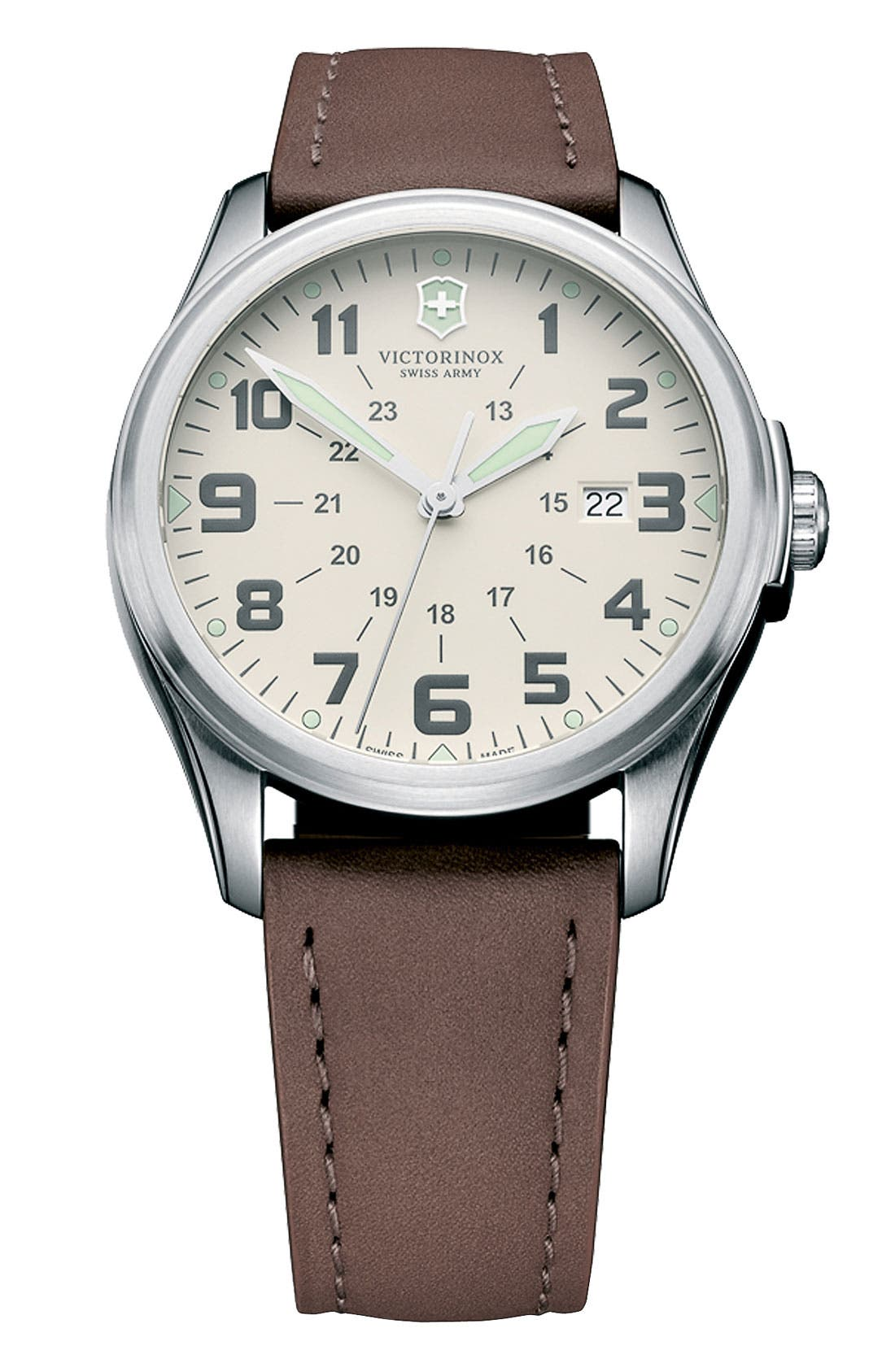 Main Image - Victorinox Swiss Army® 'Infantry - Vintage' Round Leather Strap Watch, 38mm