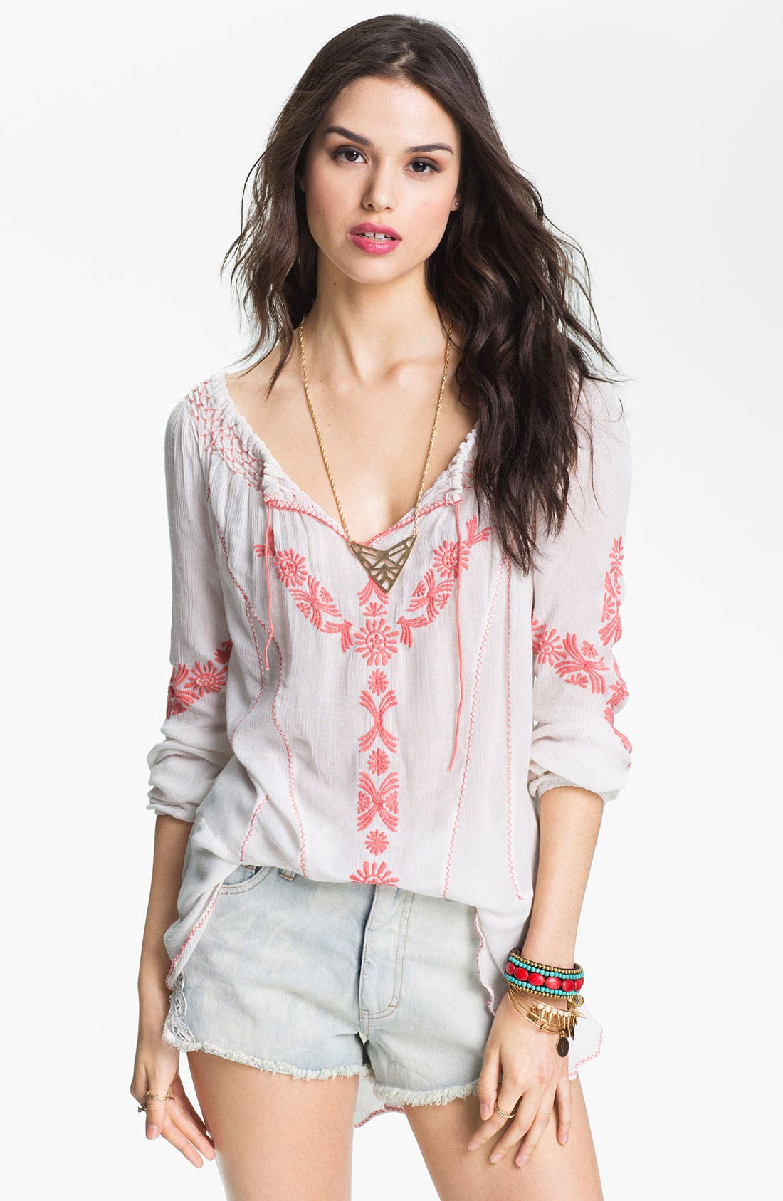 Alternate Image 1 Selected - Free People Embroidered Peasant Top