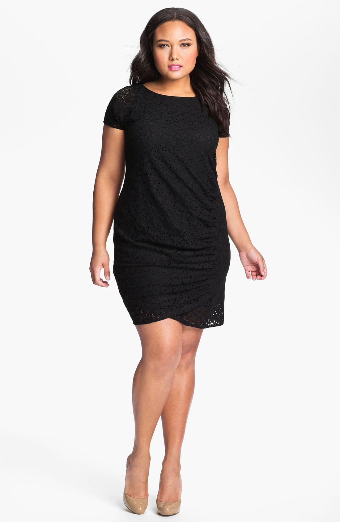 Alternate Image 1 Selected - DKNYC Side Ruched Lace Dress (Plus)