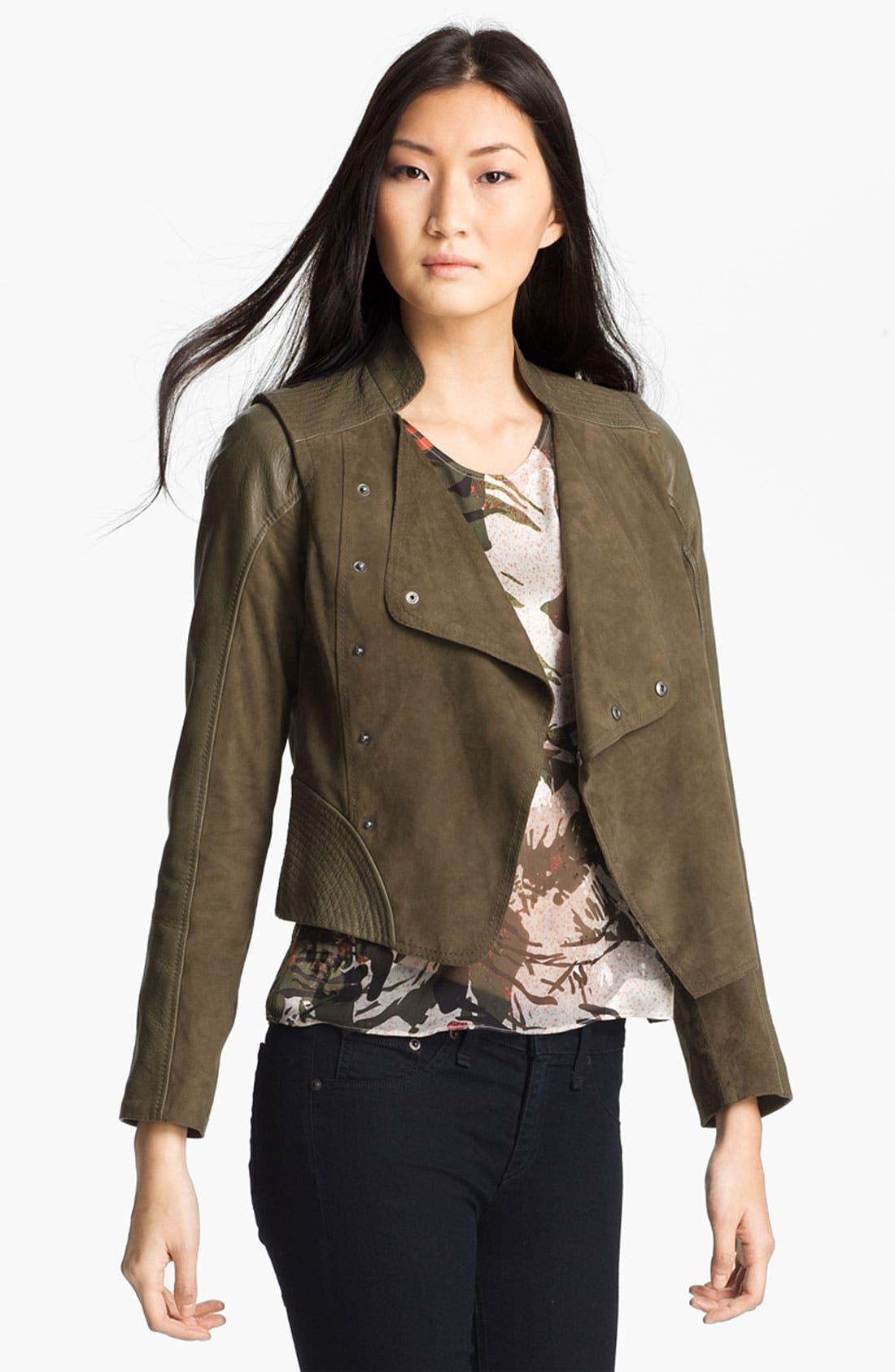 Alternate Image 3  - Edun Double Breasted Leather & Suede Jacket