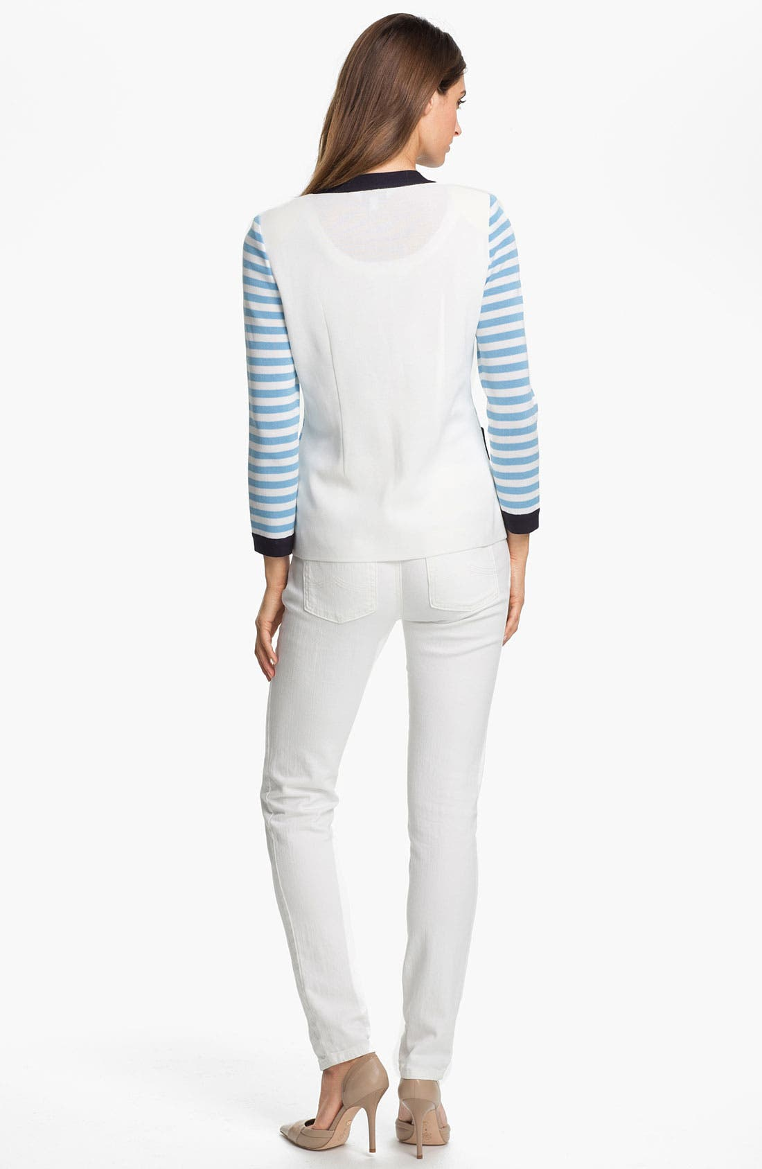 Alternate Image 5  - Exclusively Misook 'Rebecca' Stripe Jacket (Petite) (Online Exclusive)