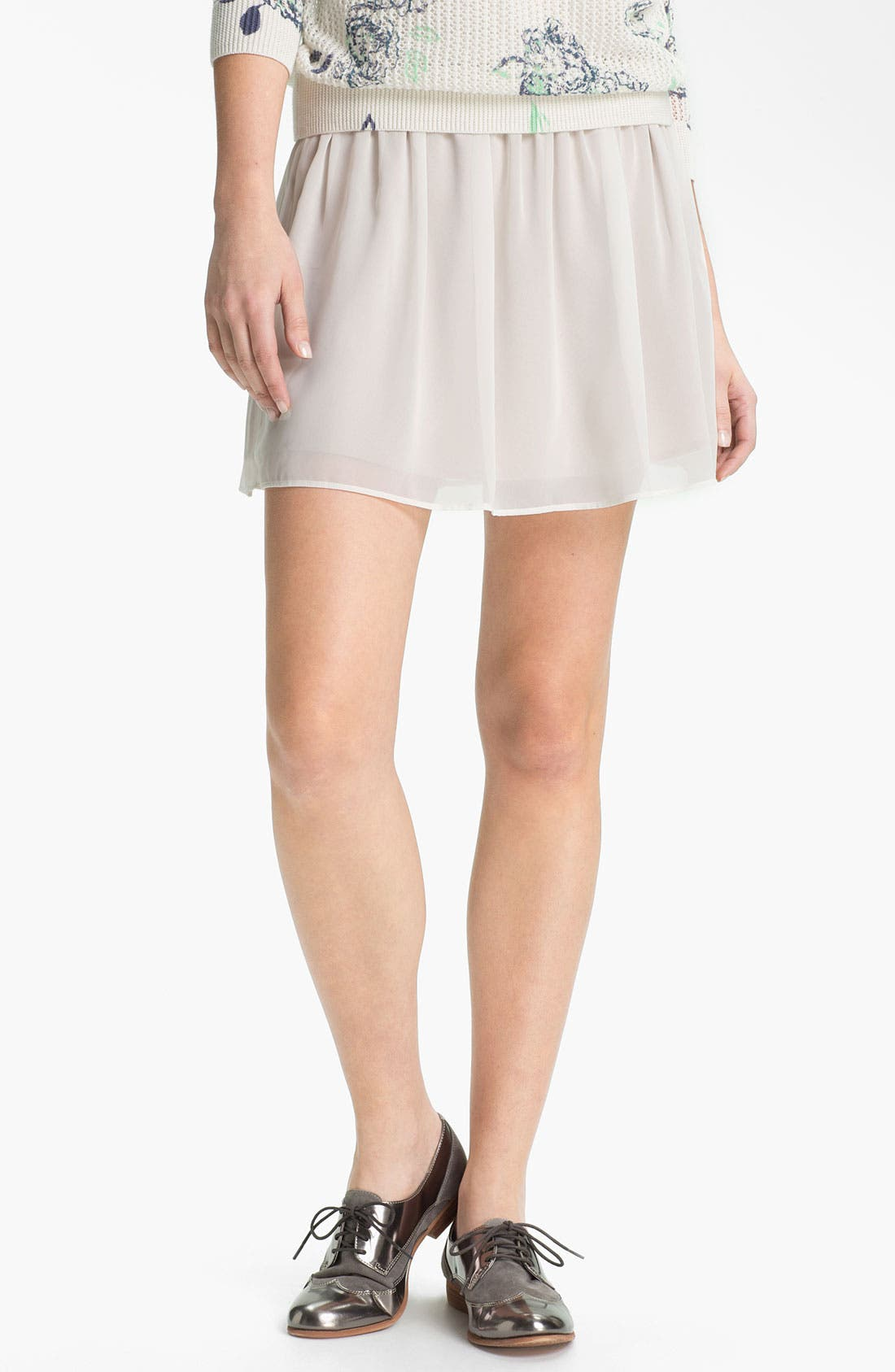 Alternate Image 1 Selected - Frenchi® Chiffon Miniskirt (Juniors)