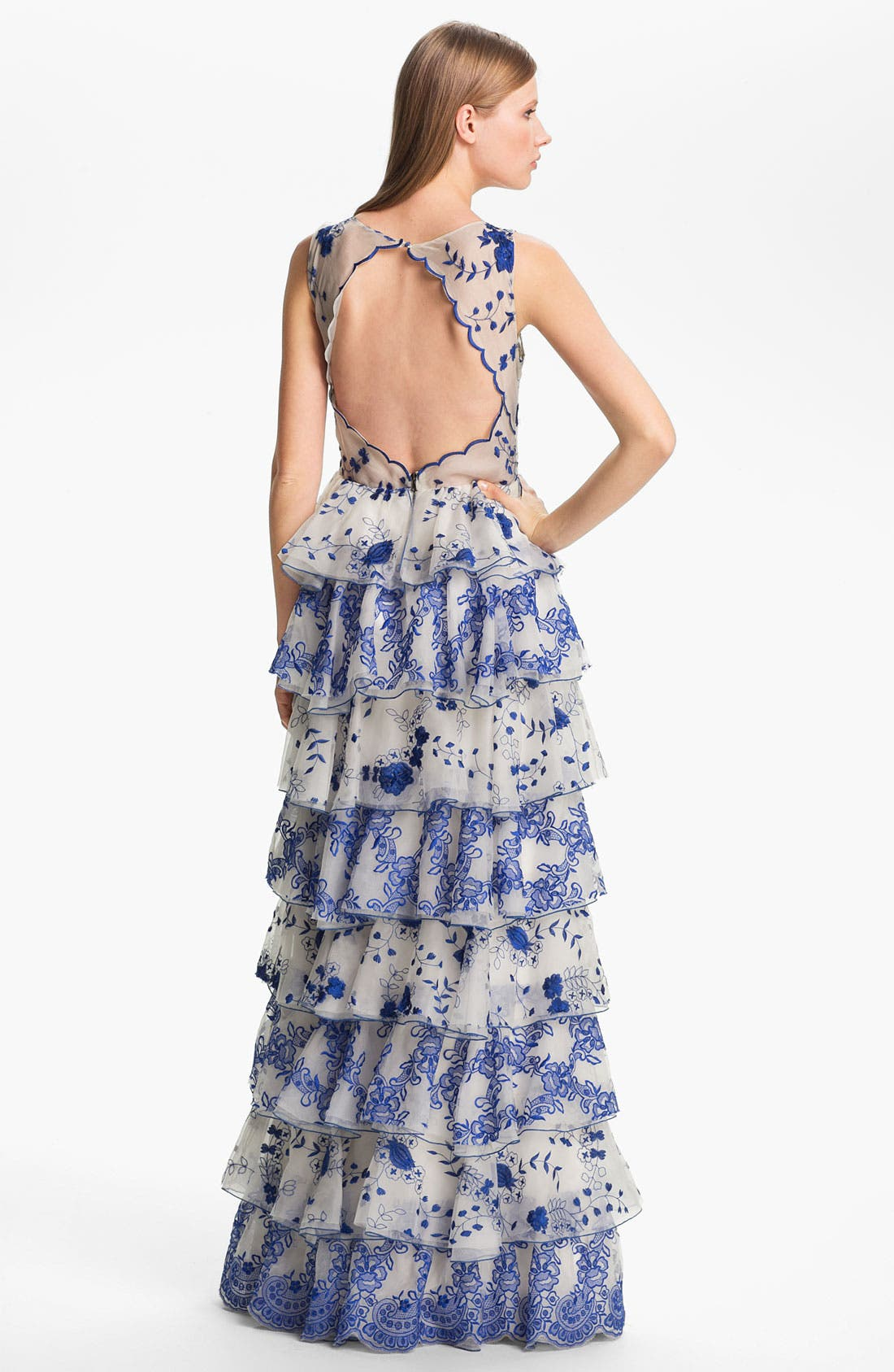 Alternate Image 2  - Alice + Olivia 'Dahlia' Tiered Lace Gown