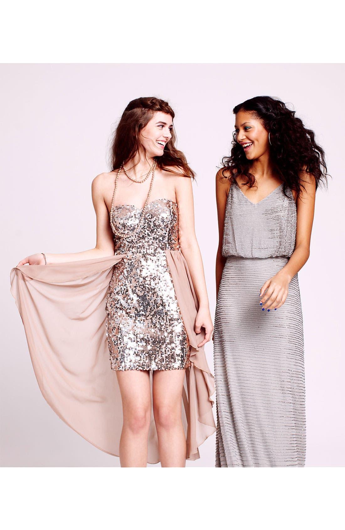 Alternate Image 4  - Adrianna Papell Beaded Mesh Halter Gown