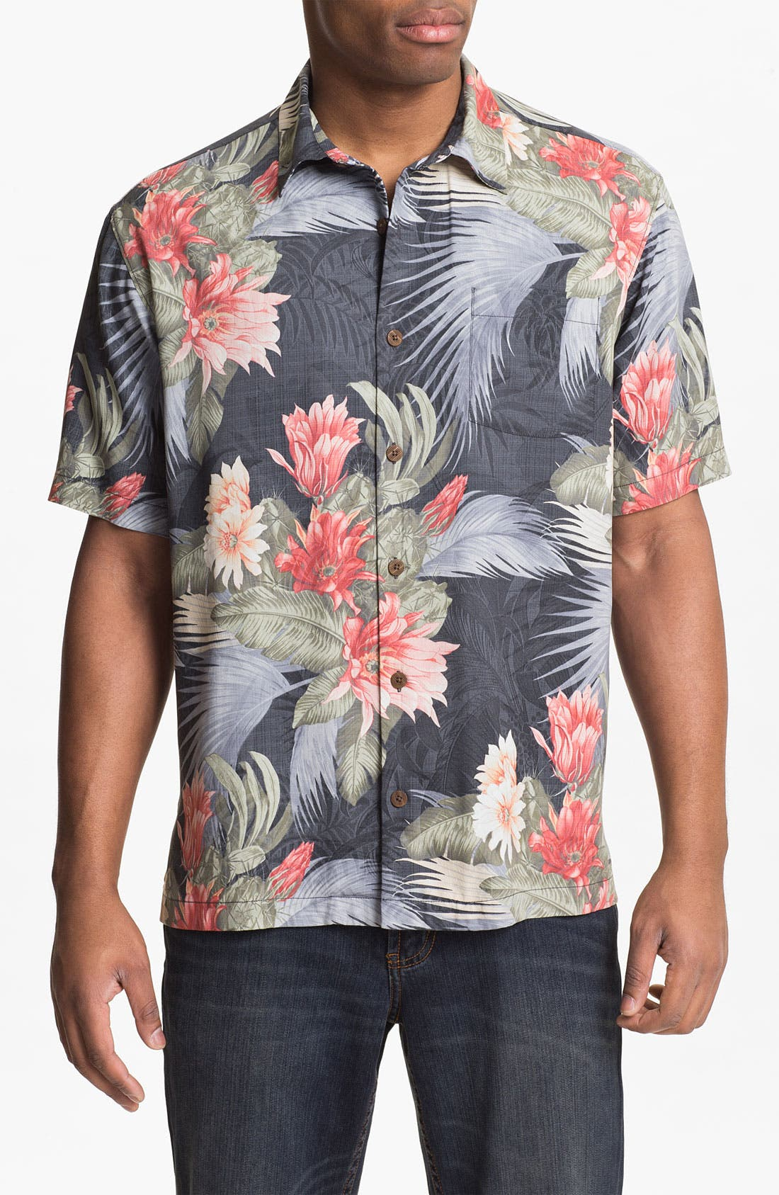 Main Image - Tommy Bahama 'Garden of Hope & Courage' Silk Campshirt