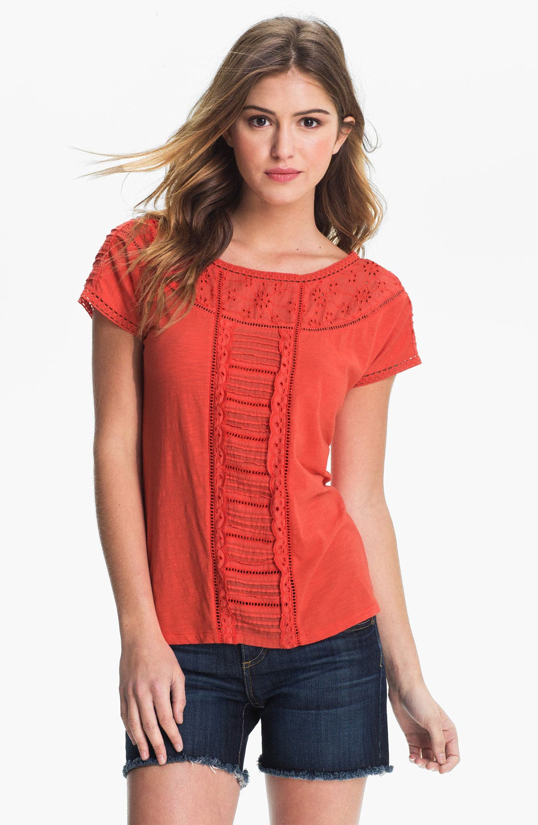Alternate Image 1 Selected - Lucky Brand 'Alice' Eyelet Trim Tee
