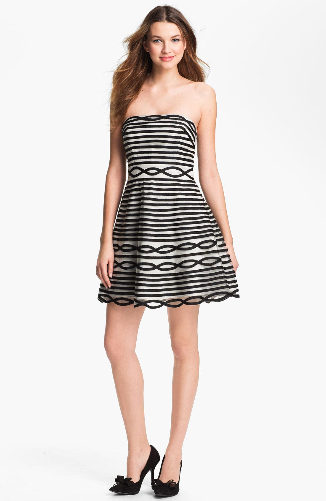 Alternate Image 1  - Adrianna Papell Stripe Tulle Fit & Flare Dress