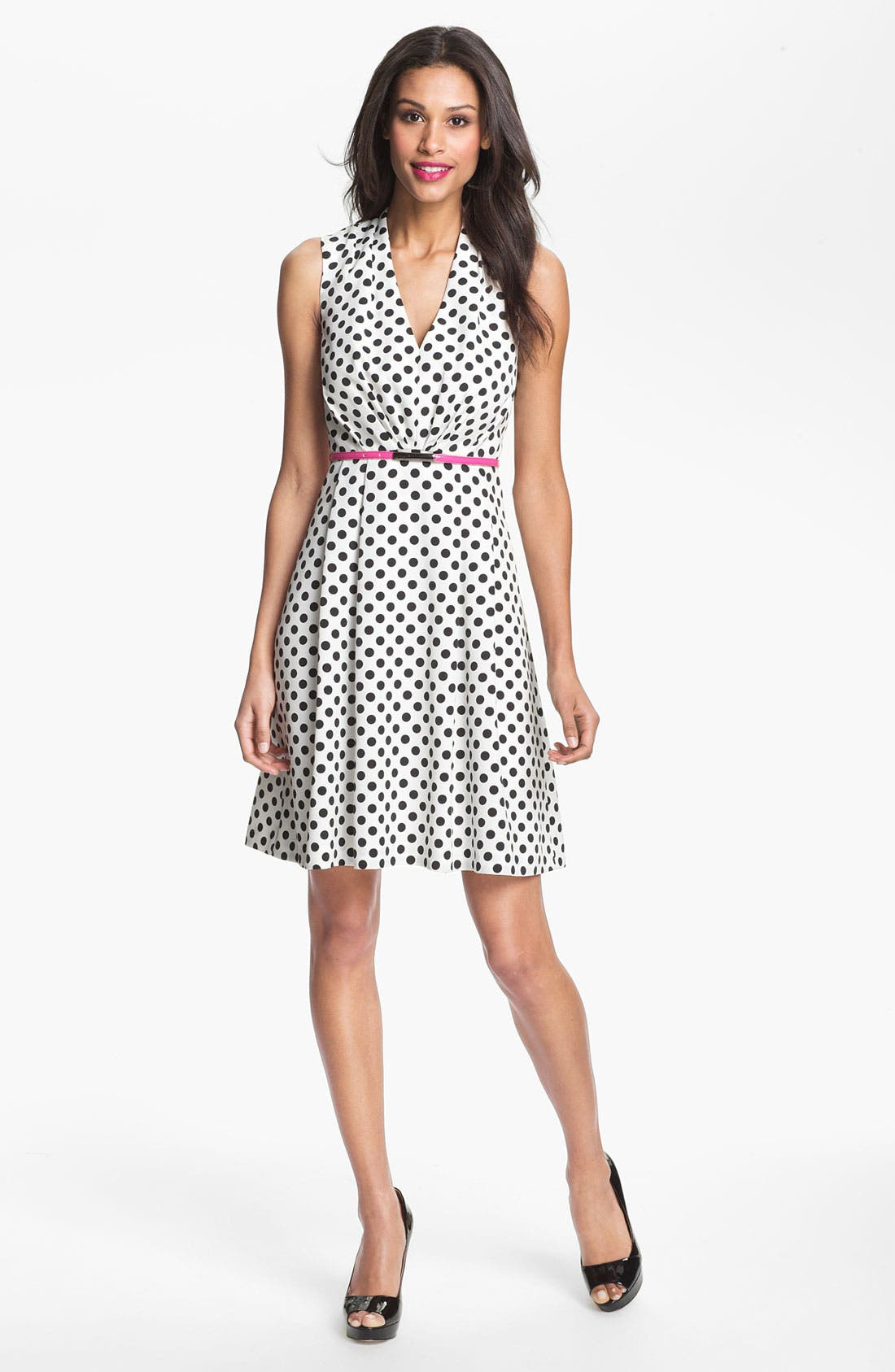 Main Image - Adrianna Papell Polka Dot Fit & Flare Dress
