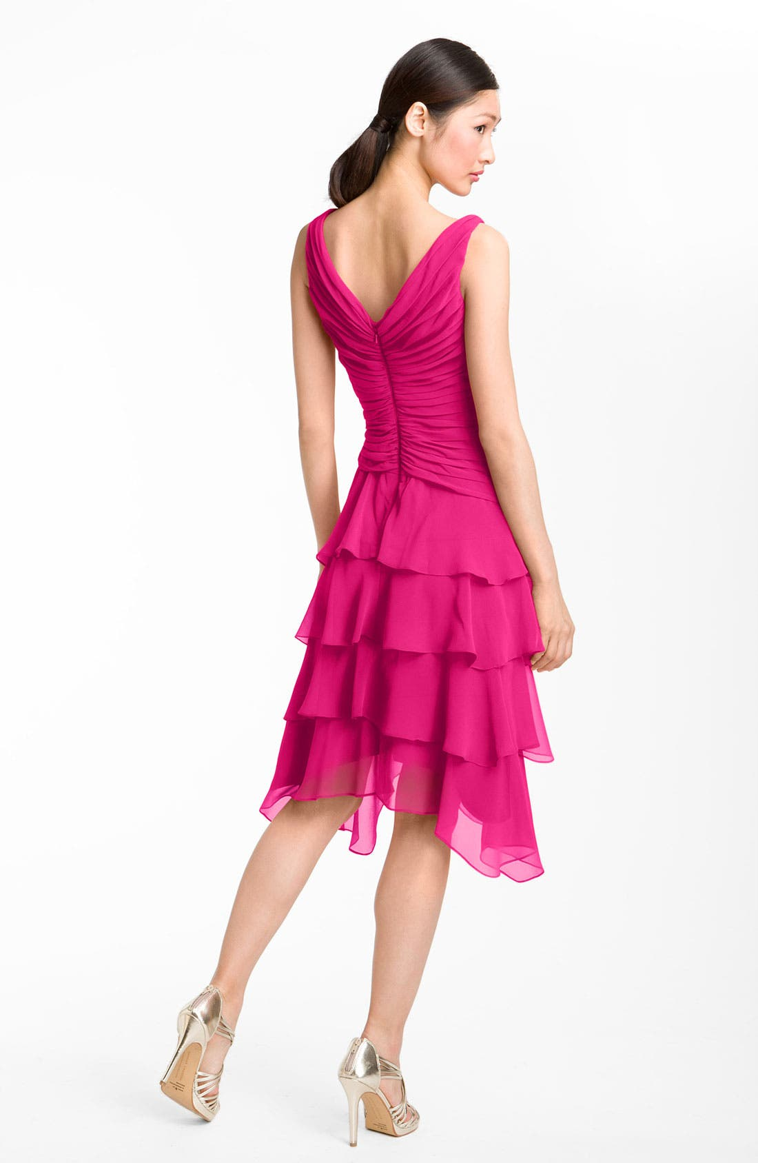 Alternate Image 2  - T by Tadashi V-Neck Tiered Ruffle Skirt Chiffon Dress