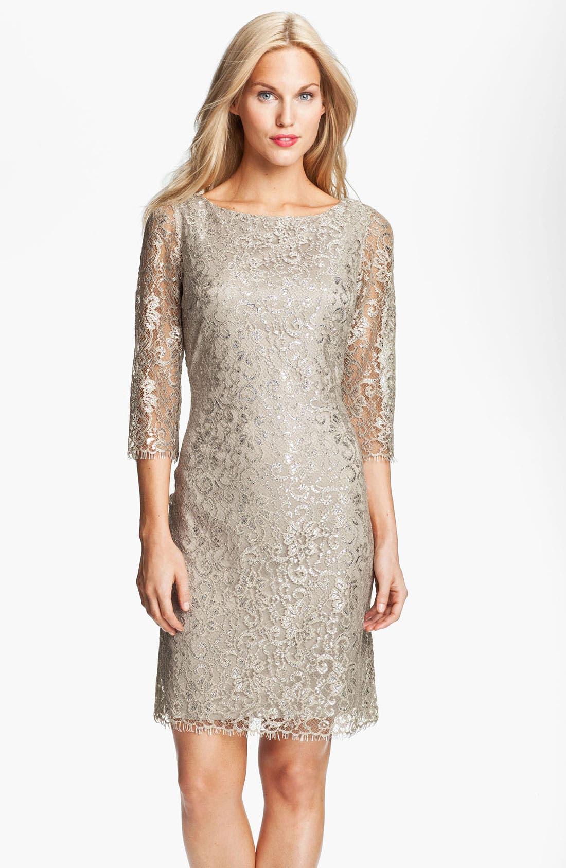 Alternate Image 1 Selected - Calvin Klein Metallic Lace Sheath Dress