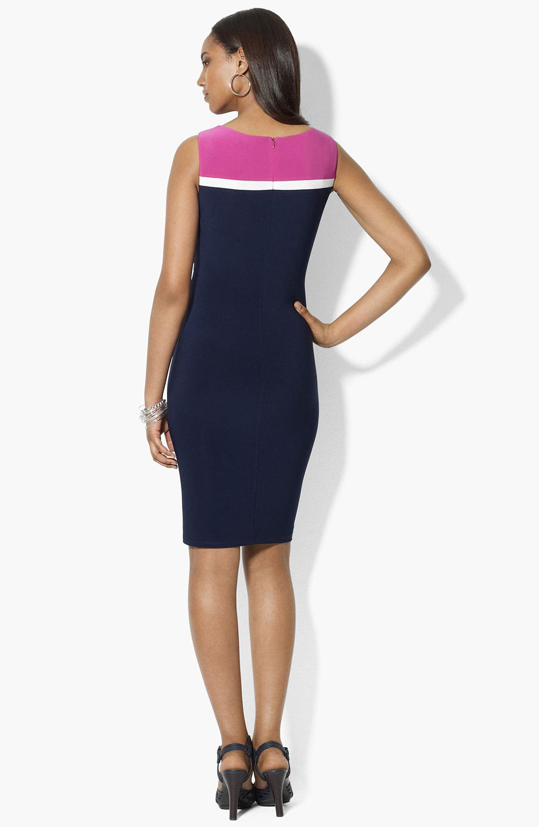 Alternate Image 2  - Lauren Ralph Lauren Colorblock Jersey Sheath Dress