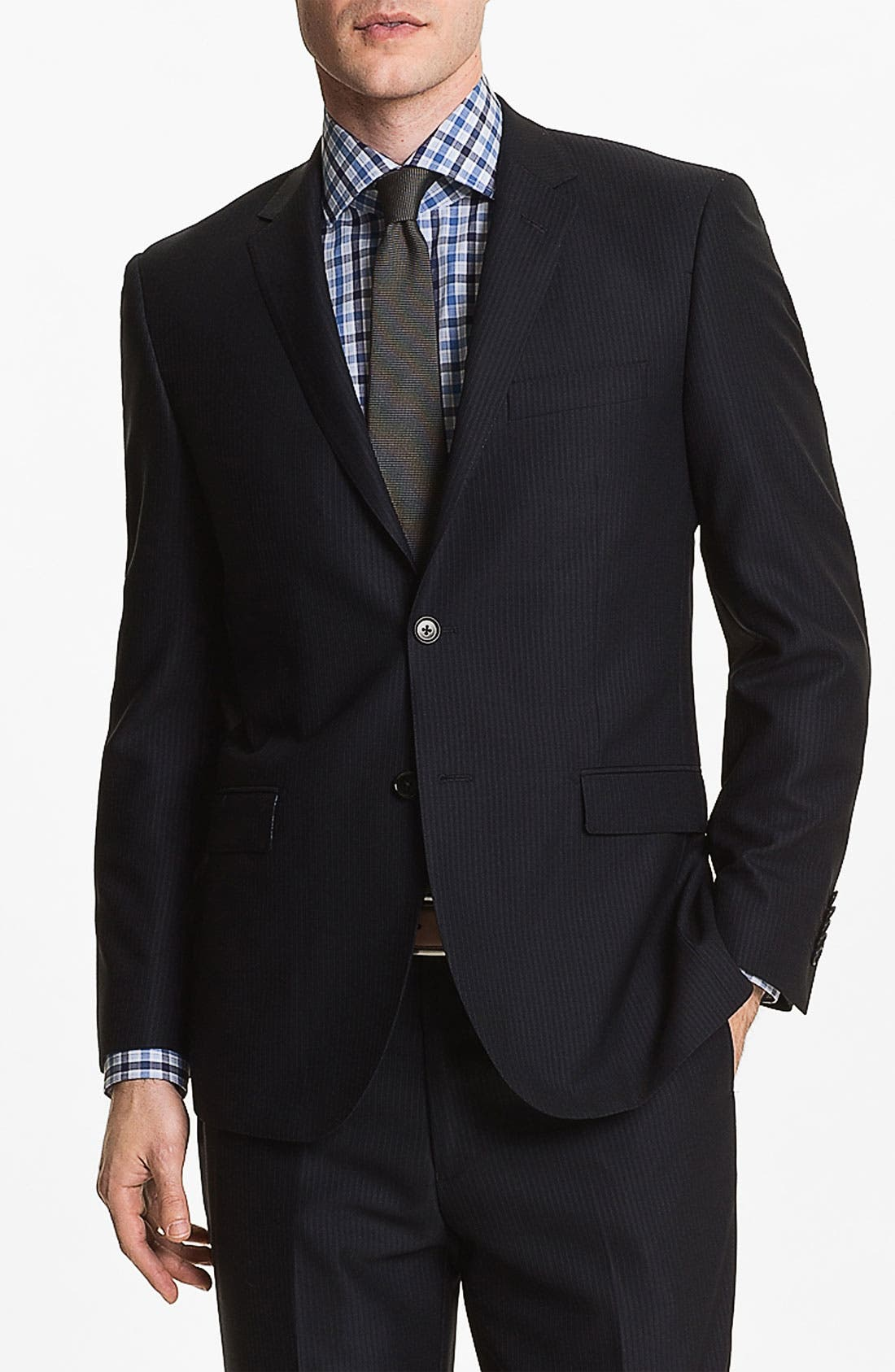 Main Image - English Laundry Trim Fit Stripe Suit (Online Only)