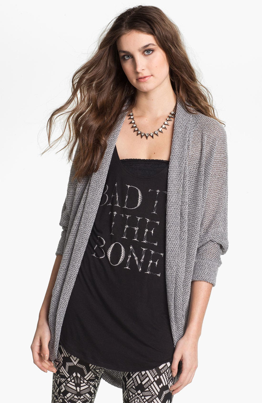 Main Image - Painted Threads Oversized Lightweight Knit Cardigan (Juniors)