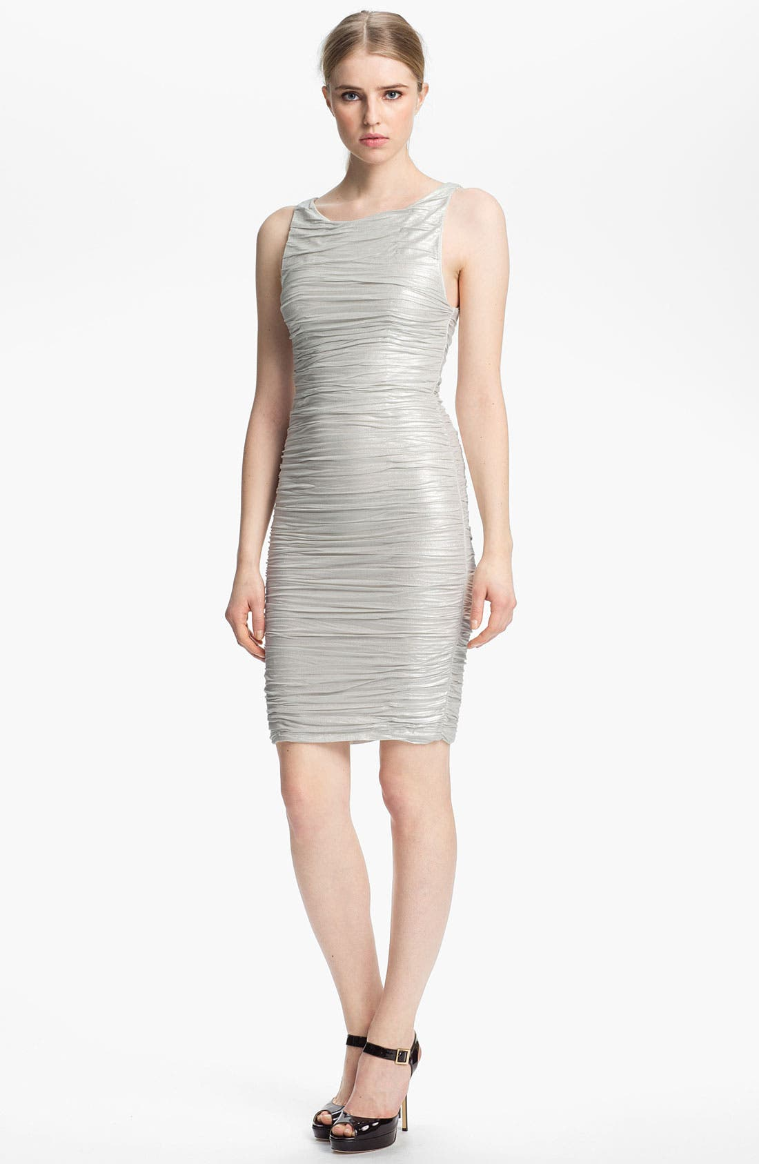 Main Image - Alice + Olivia Ruched & Foiled Jersey Dress