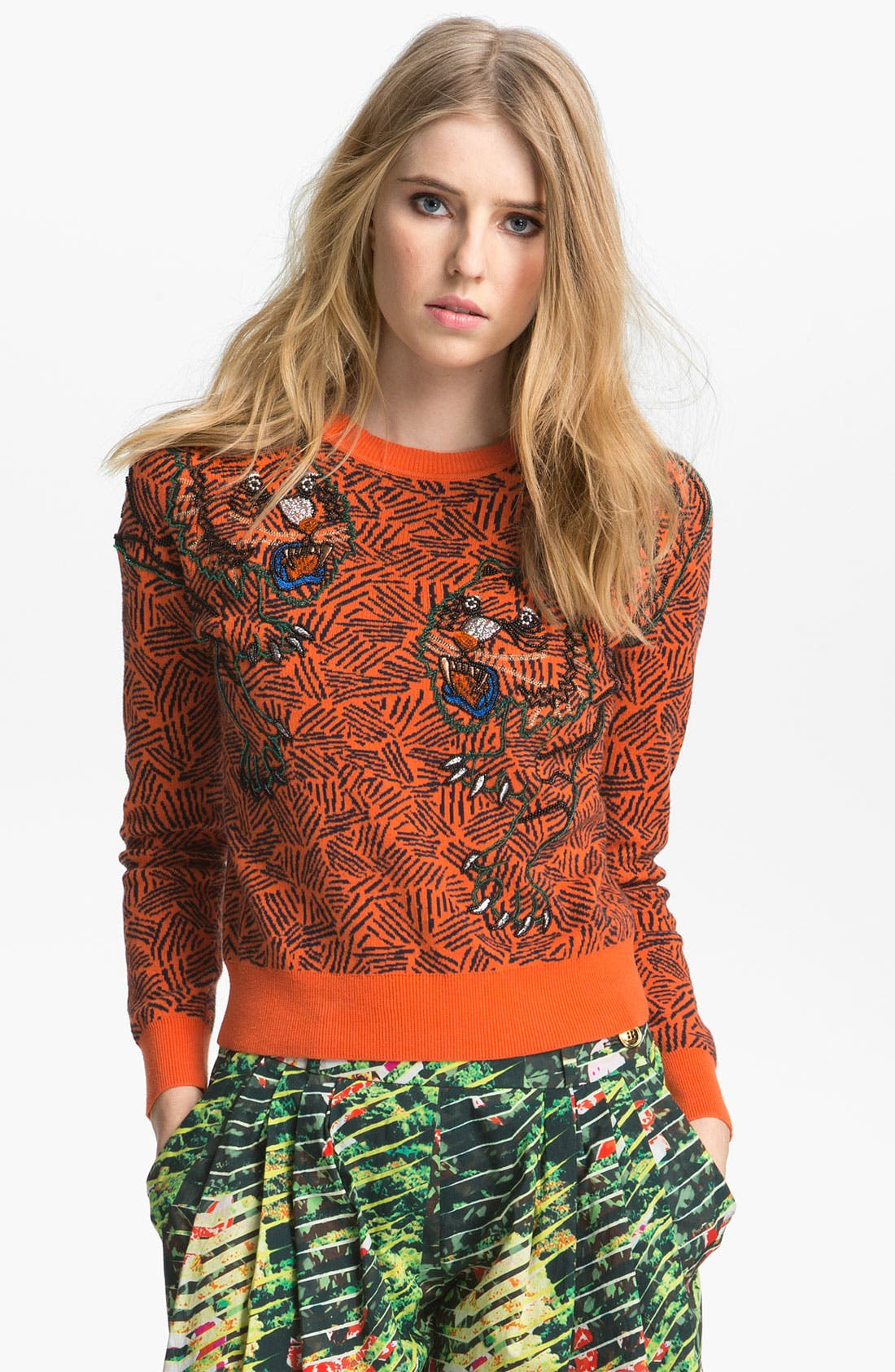 Alternate Image 1 Selected - KENZO Bead Embroidered Tiger Sweater