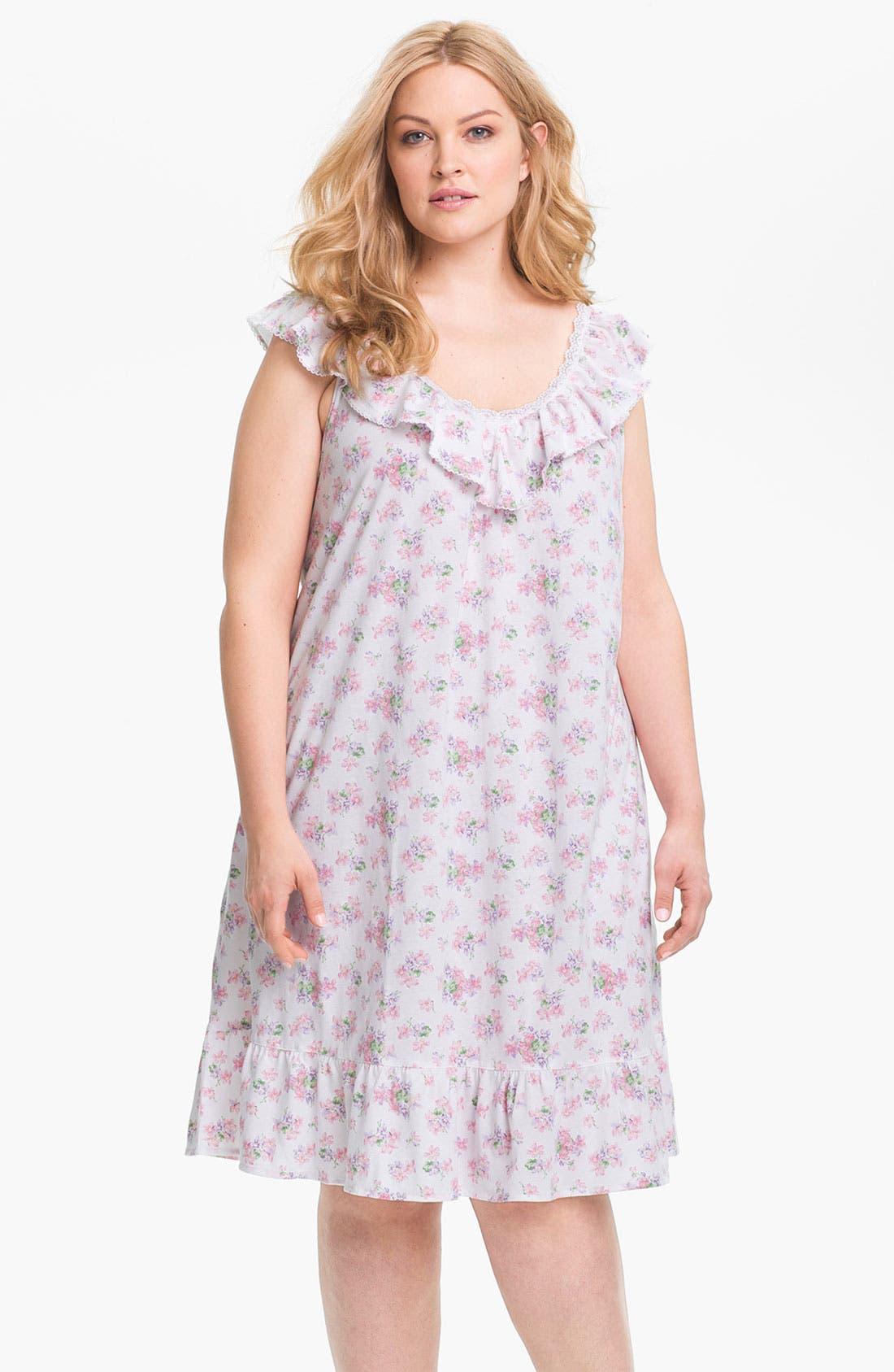 Main Image - Lauren Ralph Lauren Sleepwear Short Ruffle Nightgown (Plus)