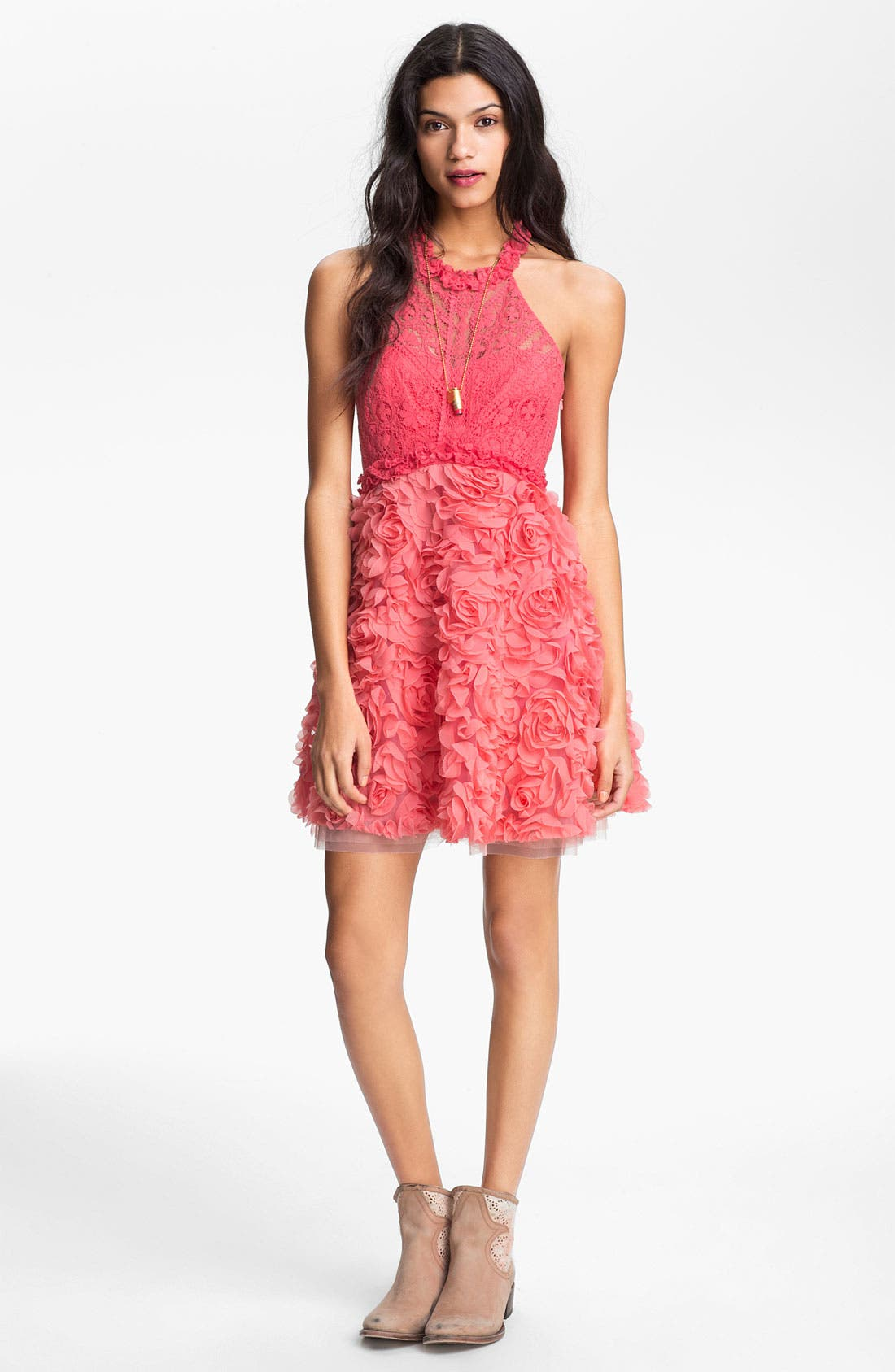 Main Image - Free People 'Bouquet' Lace & Rosette Dress