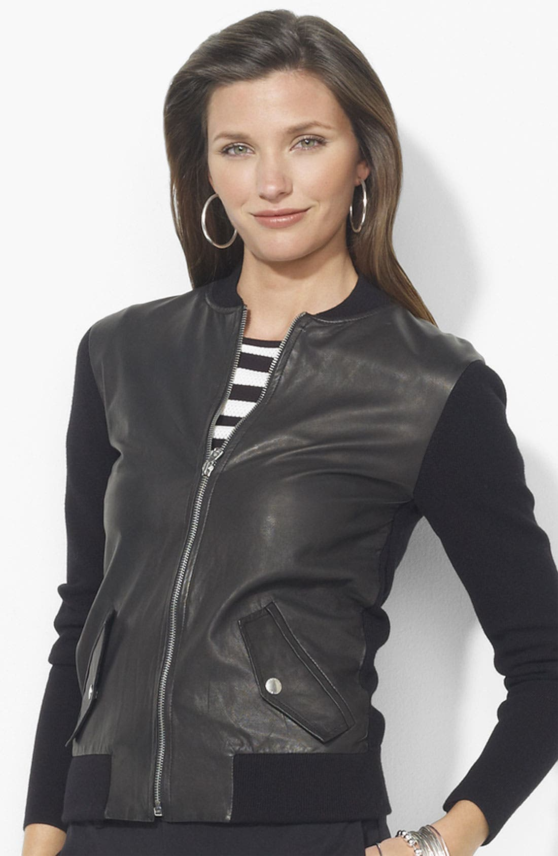 Main Image - Lauren Ralph Lauren Leather Front Cardigan