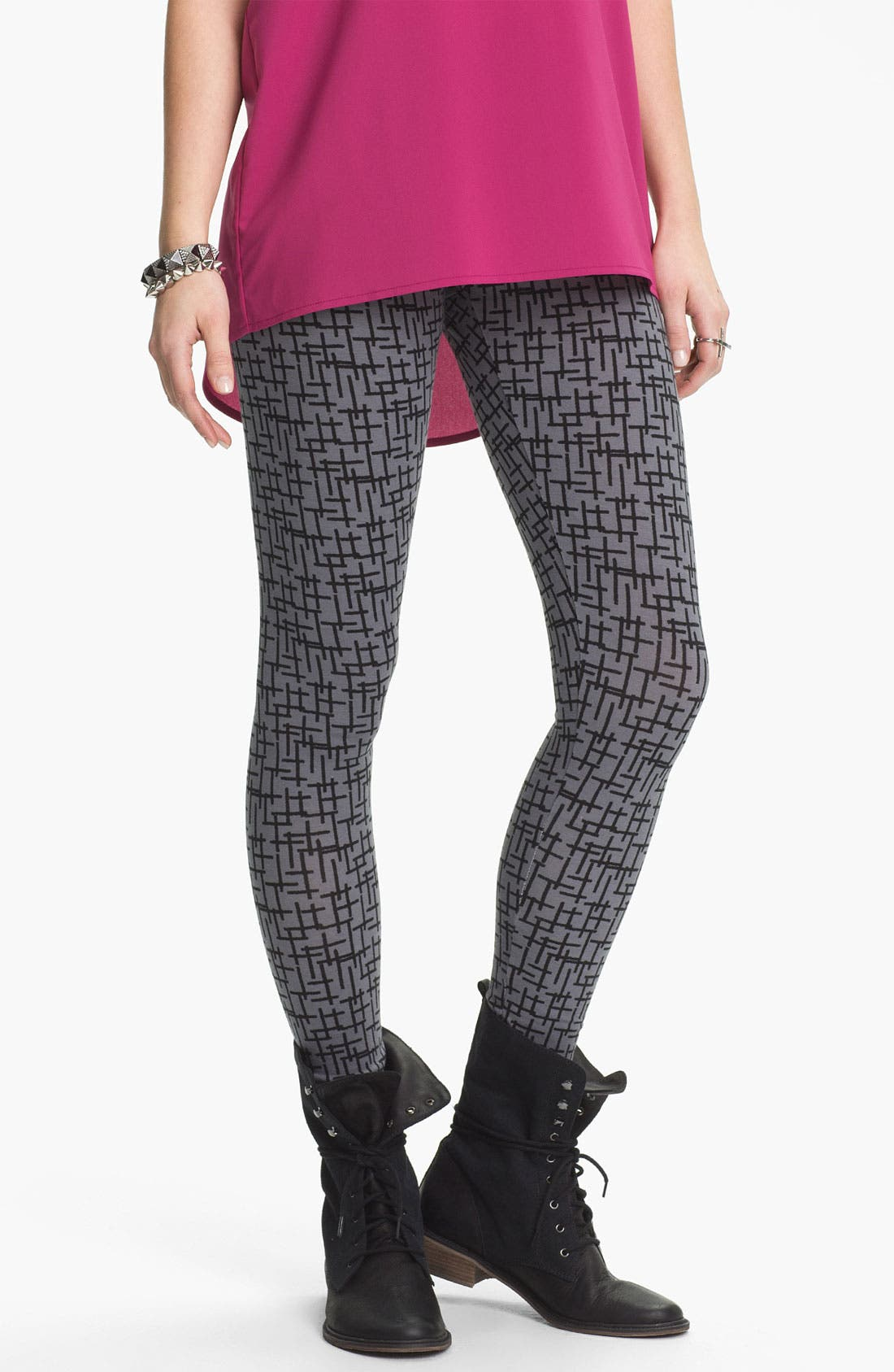 Main Image - Mimi Chica Cross Print Leggings (Juniors)