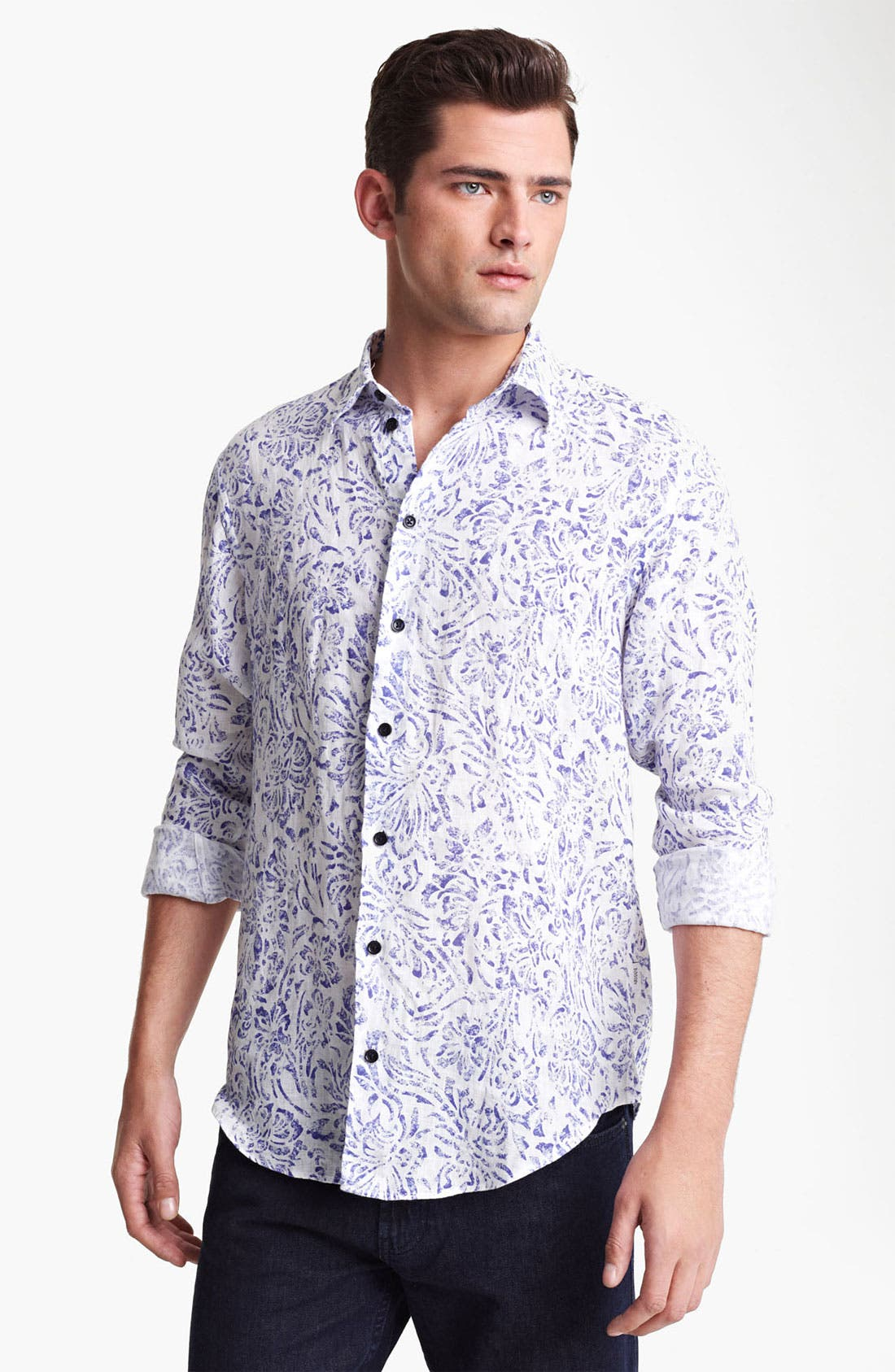 Alternate Image 1 Selected - Armani Collezioni Floral Print Linen Sport Shirt