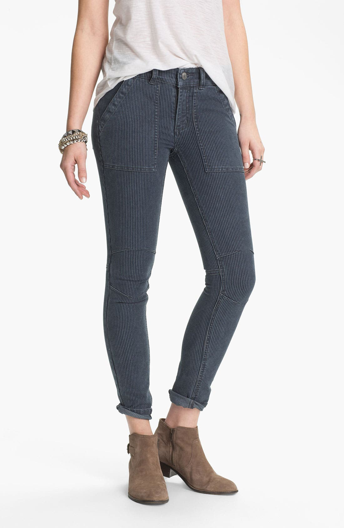 Main Image - Free People Railroad Stripe Skinny Utility Jeans (Washed Black)