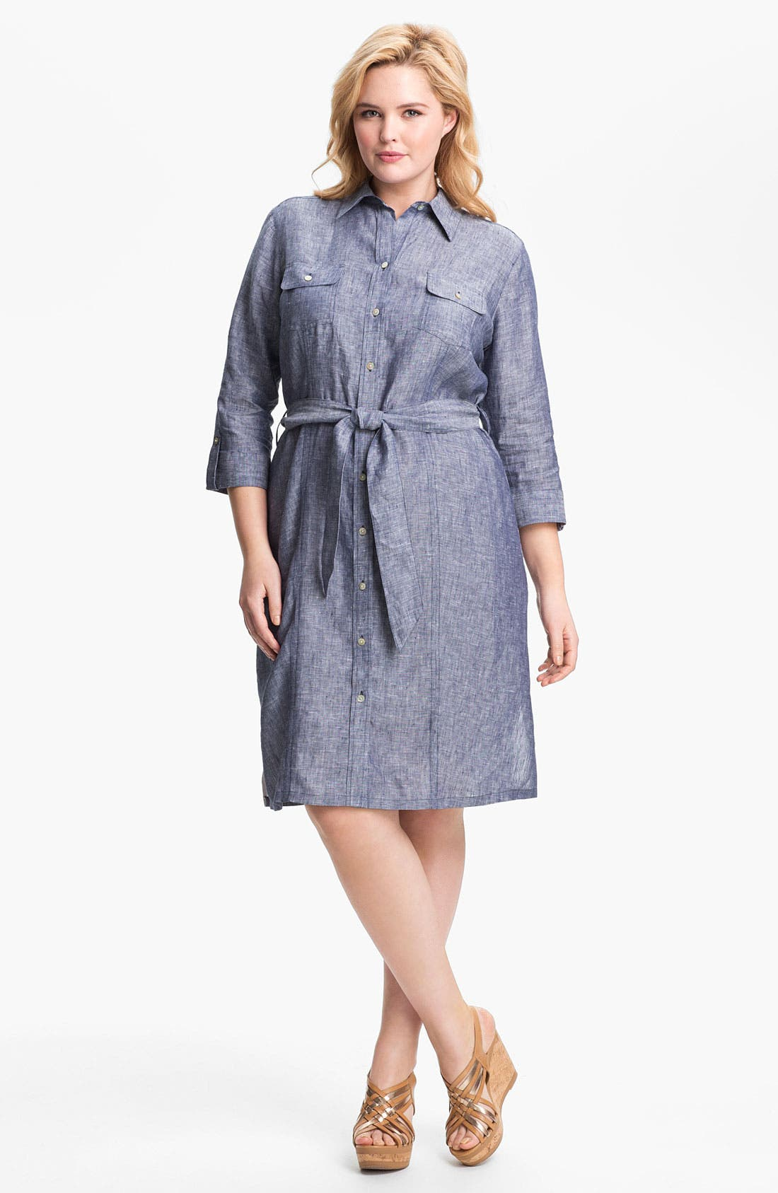 Alternate Image 1 Selected - Foxcroft Chambray Linen Shirtdress (Plus Size) (Online Only)