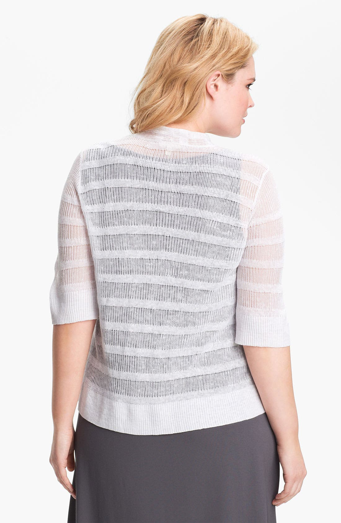 Alternate Image 2  - Eileen Fisher Ribbed Linen Cardigan (Plus Size)