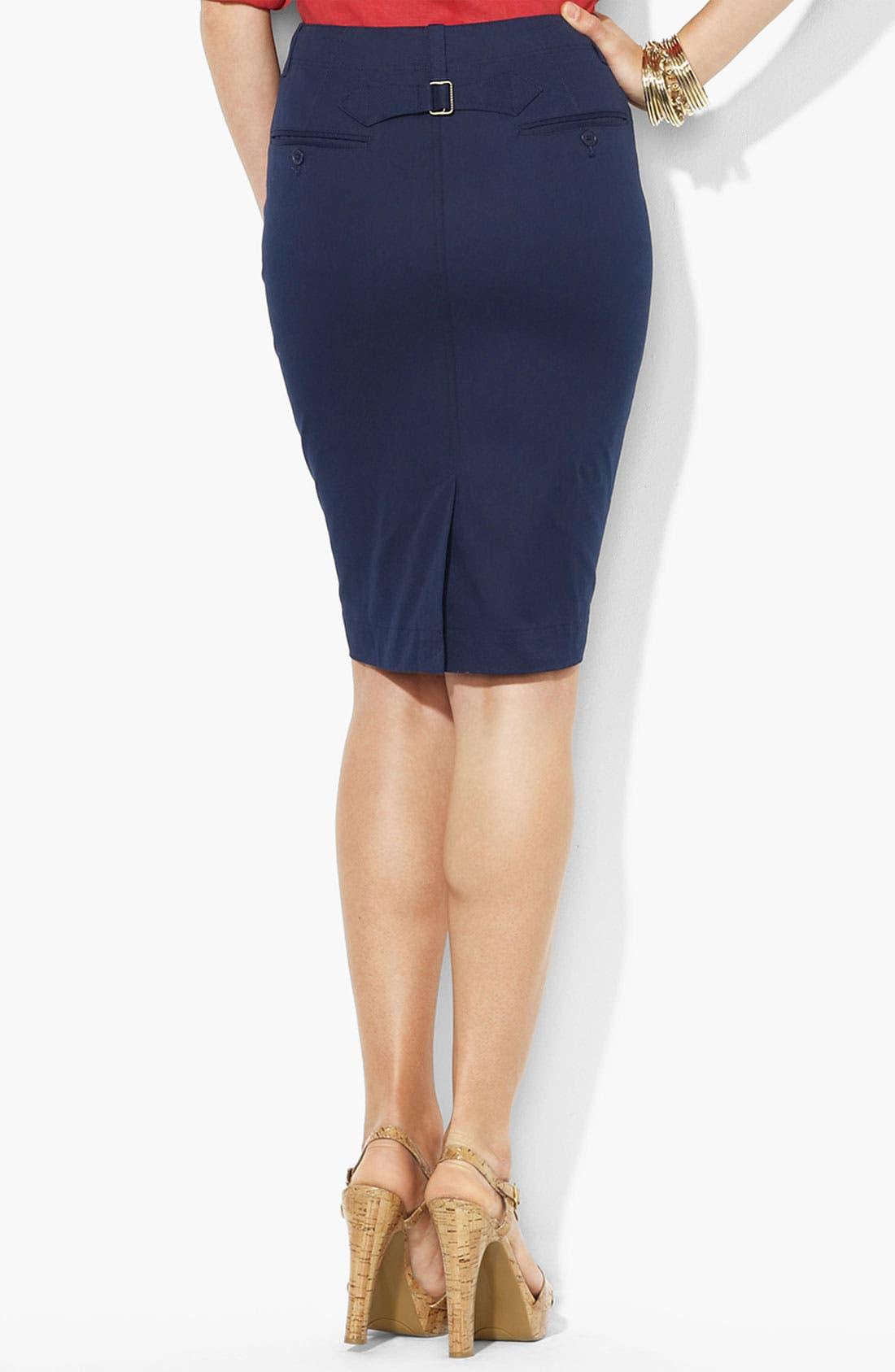 Alternate Image 2  - Lauren Ralph Lauren Buckle Back Straight Skirt (Petite) (Online Only)