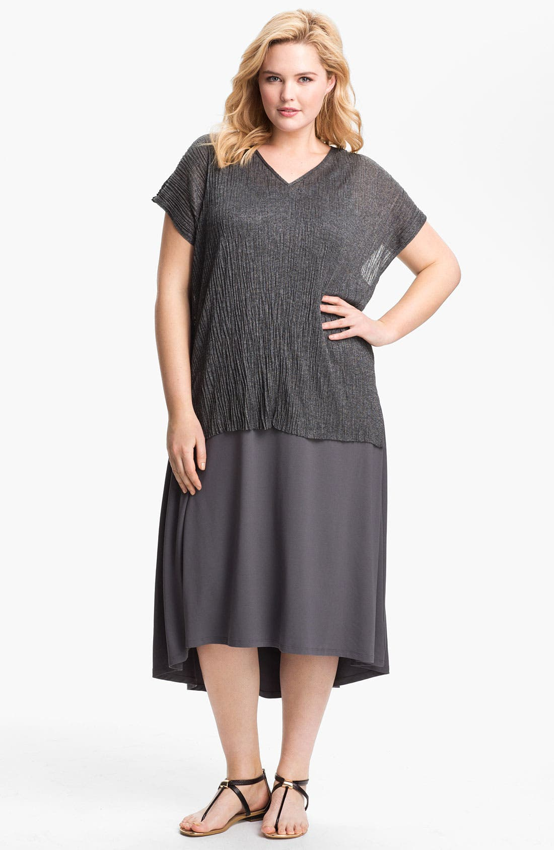 Alternate Image 4  - Eileen Fisher Crinkled Tunic (Plus Size)