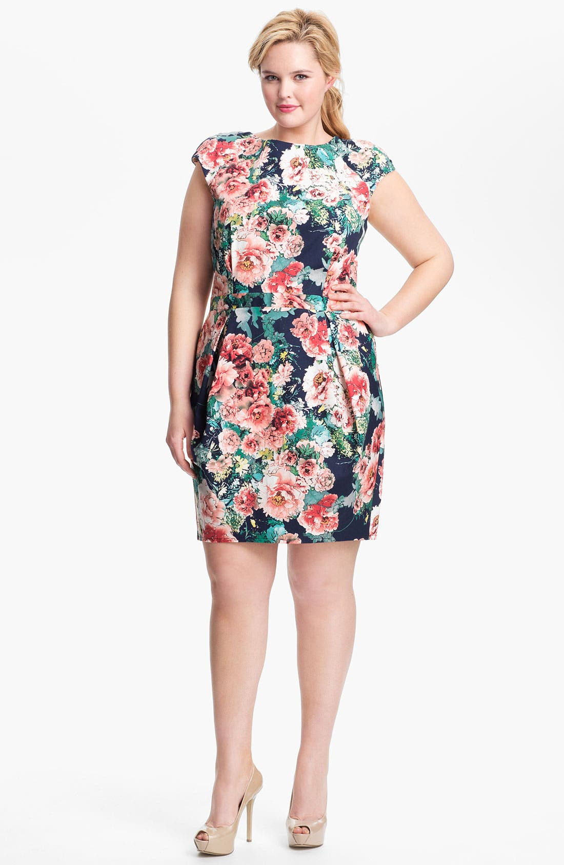 Main Image - A.B.S. by Allen Schwartz Print Sheath Dress (Plus Size) (Online Only)