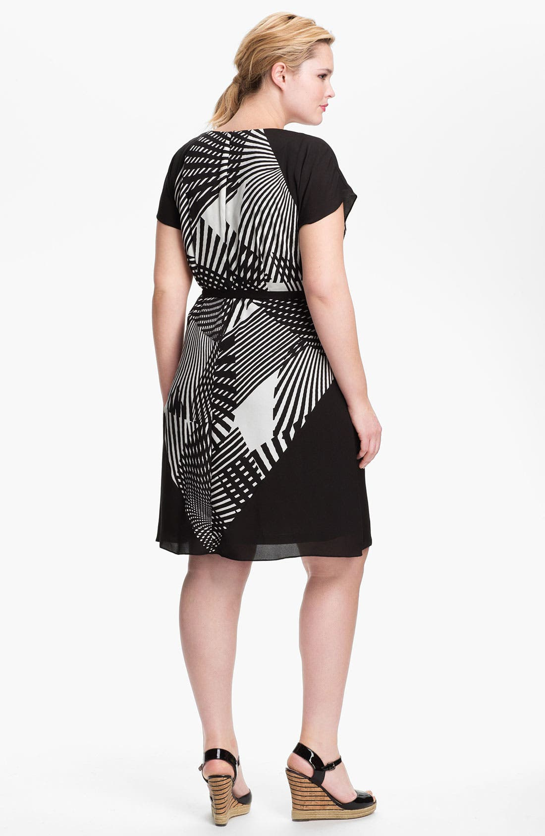 Alternate Image 2  - Adrianna Papell Colorblock Print Faux Wrap Dress (Plus Size) (Online Only)